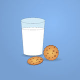 Glass of milk and cookies illustration Stock Images