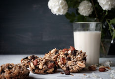Glass of milk and cookies made of nuts and raisins Royalty Free Stock Images