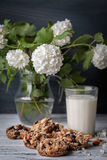 Glass of milk and cookies made of nuts and raisins Stock Photography