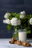 Glass of milk and cookies made of nuts and raisins Royalty Free Stock Photography