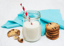 Glass of milk and cookies Royalty Free Stock Image