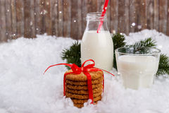 Glass of milk and cookies. For Santa Claus, Christmas background Stock Image