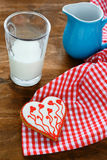 Glass of milk and cookies in the shape of heart Royalty Free Stock Photography