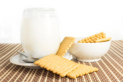 Glass of milk with cookies Royalty Free Stock Photos