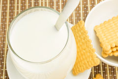 Glass of milk with cookies Stock Images