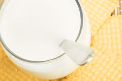 Glass of milk with cookies Royalty Free Stock Photo