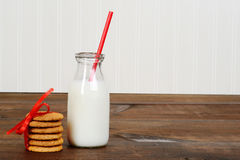 Glass of milk with cookies Royalty Free Stock Image