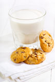 Glass of milk with cookies Royalty Free Stock Images