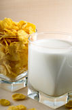 Glass of milk and corn flakes for cooking Royalty Free Stock Photo
