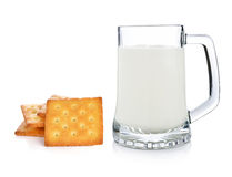 Glass of milk and cracker Stock Image