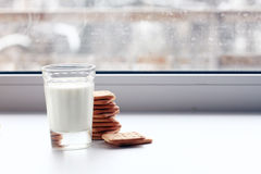 Glass of milk and crackers diet stock images