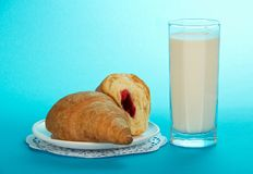 Glass with milk and croissants Royalty Free Stock Images