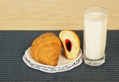 Glass of milk and croissants Royalty Free Stock Images