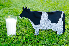 Glass of Milk with dairy cow wooden blackboard on grass. Glass of Milk with dairy cow wooden blackboard on green grass Stock Photography