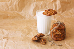 glass of milk and diet oatmeal cookies Stock Photography