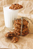 a glass of milk and diet oatmeal cookies Royalty Free Stock Photography