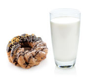 Glass of milk and donut Royalty Free Stock Photos
