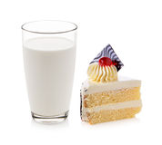 Glass of milk with fancy cake Stock Photography