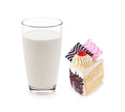 Glass of milk with fancy cake Stock Photos