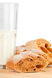 Glass of milk and fresh bread Royalty Free Stock Image