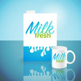 Glass of milk with gable top package close up. Cow  carton and  cup isolated on white background. Vector illustration Royalty Free Stock Photo