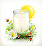 Glass of milk in grass. Vector illustration Royalty Free Stock Photography