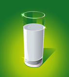 Glass of milk on green background - vector Stock Photos