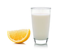 Glass of milk and Half lemon fruit on white background, fresh an Stock Photo