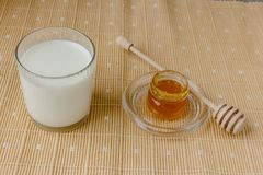 Glass of milk and jar of honey on a textile tablecloth.