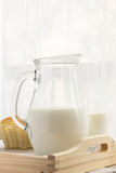 Glass of milk and a jug Stock Images