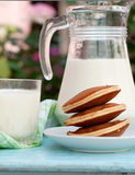 Glass of milk and a jug of milk Royalty Free Stock Photography