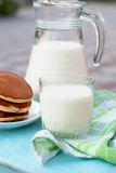 Glass of milk and a jug of milk Stock Photo