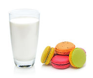 Glass of milk and macaroon Stock Photography