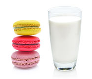 Glass of milk and macaroon Royalty Free Stock Images