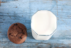 Glass of milk and oat cookies Royalty Free Stock Photo