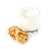 Glass of milk and oatmeal cookies with caramel Royalty Free Stock Image