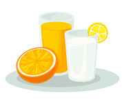 Glass milk and orange juice. Glass of delicious milk or yogurt and fresh orange juice. Icon wiyh tasty dairy and sweet fruit drink. Vector cartoon illustration Stock Image