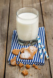 Glass of milk on a rustic wooden table Stock Photography