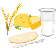 Glass of milk, a slice of white bread with butter and cheese for breakfast royalty free stock photo