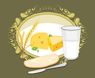 Glass of milk, a slice of white bread with butter and cheese for breakfast. Label stock image