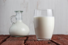 Glass of milk standing on old table Royalty Free Stock Photos