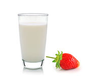 Glass of milk and strawberry on white background royalty free stock photo