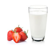 Glass of milk and strawberry Stock Image