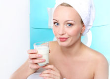 Glass of milk for strong bones Stock Photo