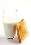 Glass of milk and toast Stock Image