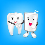 Glass of milk and tooth character shaking hands. Friends forever. Milk is good for teeth. Dental care concept, illustration on blue background Stock Photography