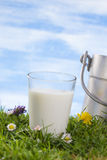 Glass of milk and Vintage milk churn Stock Photography