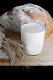 Glass of milk, wheat and bread Stock Images