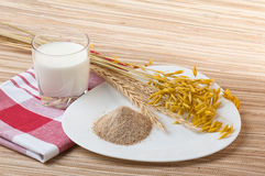 Glass of milk and wheat ears Stock Photo