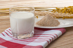 Glass of milk and wheat ears Stock Images
